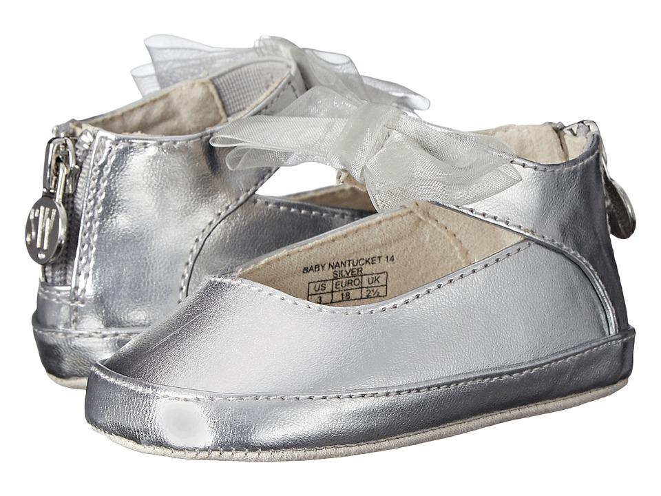 Stuart Weitzman Kids Baby Nantucket 14 Infant/Toddler Silver Girls Shoes