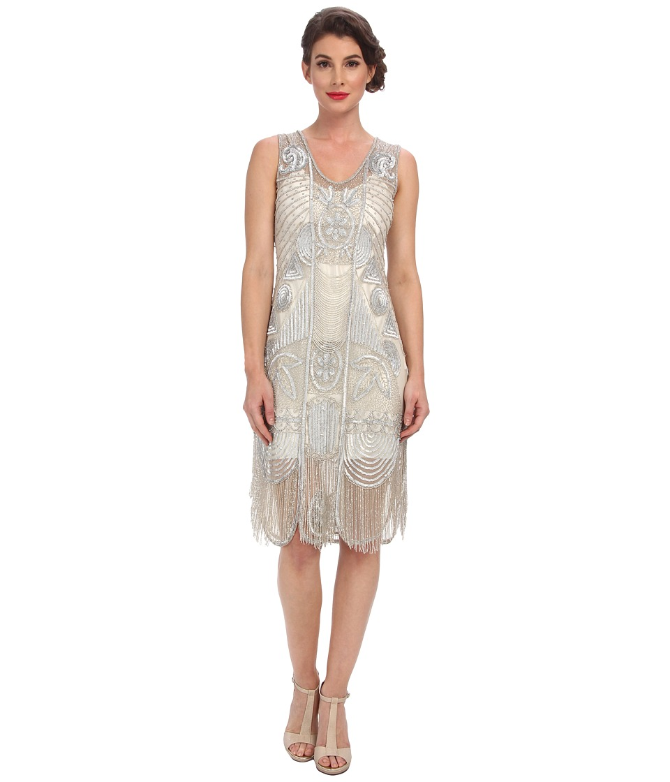Unique Vintage - The Bosley Beaded Fringed Flapper Dress Silver Womens Dress $340.00 AT vintagedancer.com