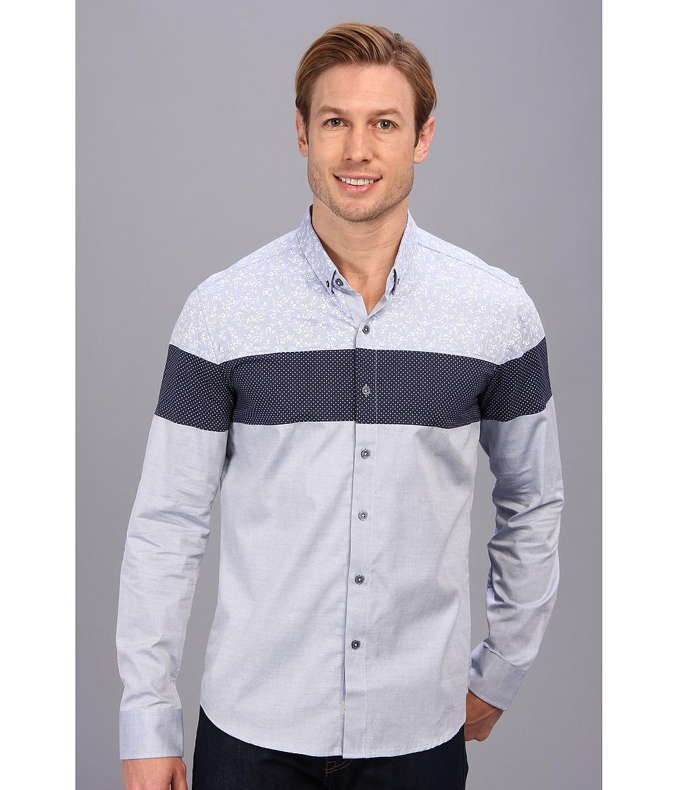 7 Diamonds - Orchid LS Shirt Blue Mens Long Sleeve Button Up $99.00 AT vintagedancer.com