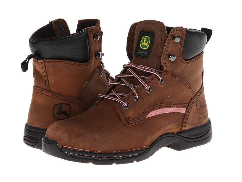 John Deere - 6 Lightweight Lace-Up Steel Toe (Brown) Womens Work Lace-up Boots