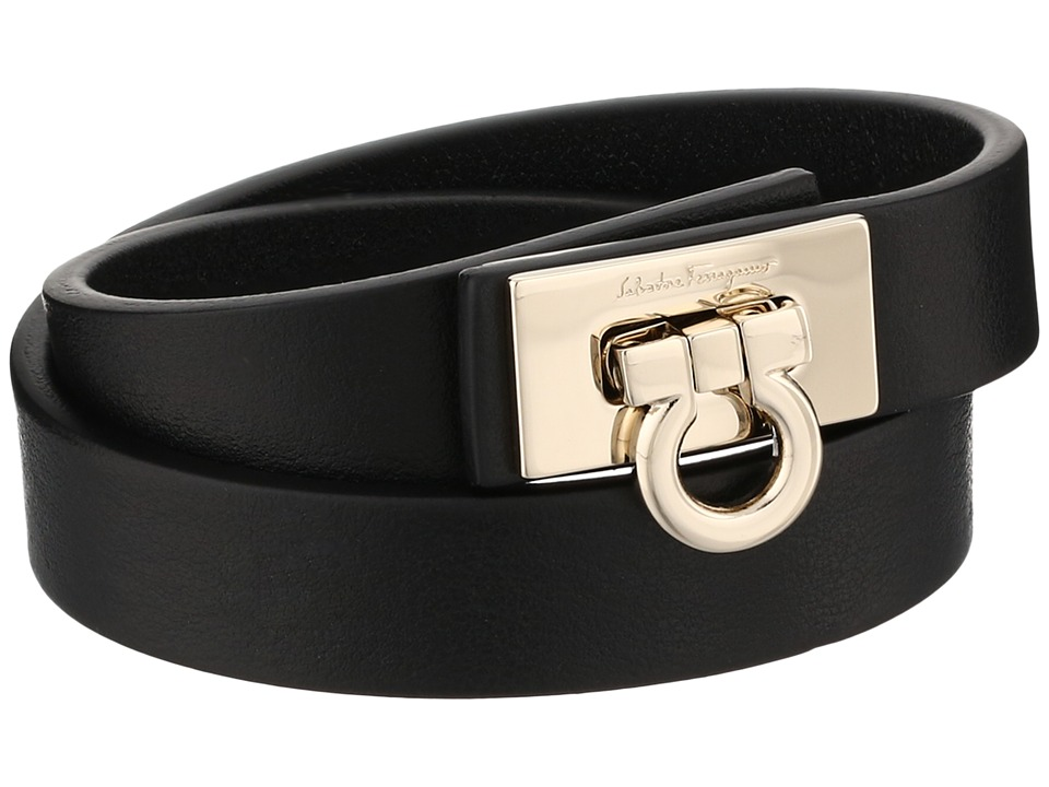 Salvatore Ferragamo 1530 BR Gancet 2G Nero/Oro Chiaro Bracelet