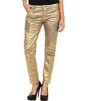Pierre Balmain - Shiny Gold Moto Skinny Jean