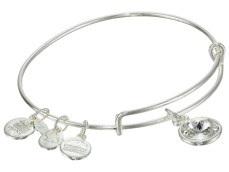 Alex and Ani April Birthstone Charm Bangle Rafaelian Silver Finish Bracelet