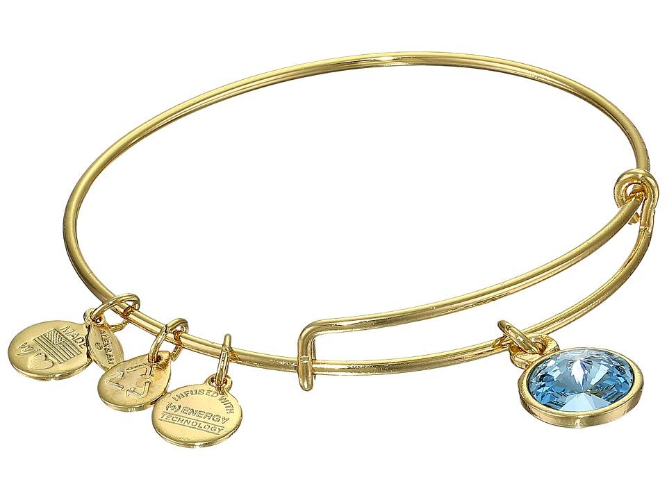 Alex and Ani - March Birthstone Charm Bangle (Rafaelian Gold Finish) Bracelet