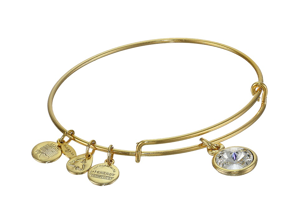 Alex and Ani April Birthstone Charm Bangle Rafaelian Gold Finish Bracelet