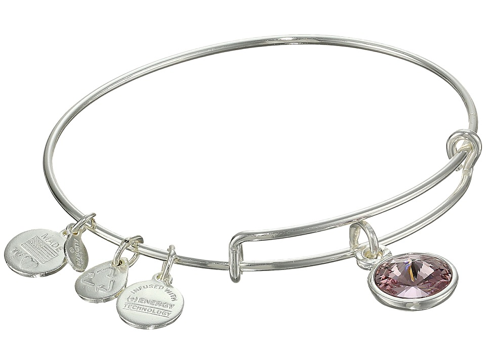 Alex and Ani - June Birthstone Charm Bangle (Rafaelian Silver Finish) Bracelet