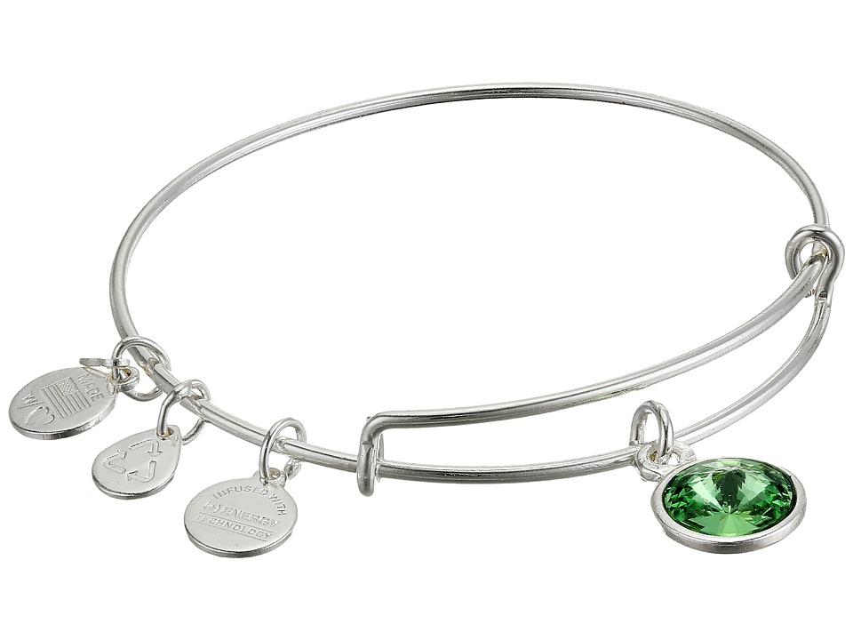 Alex and Ani - August Birthstone Charm Bangle (Rafaelian Silver Finish) Bracelet