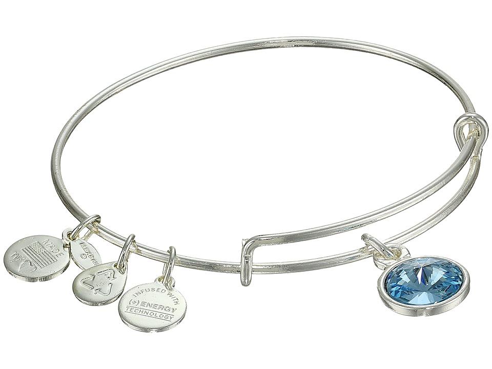 Alex and Ani - March Birthstone Charm Bangle (Rafaelian Silver Finish) Bracelet