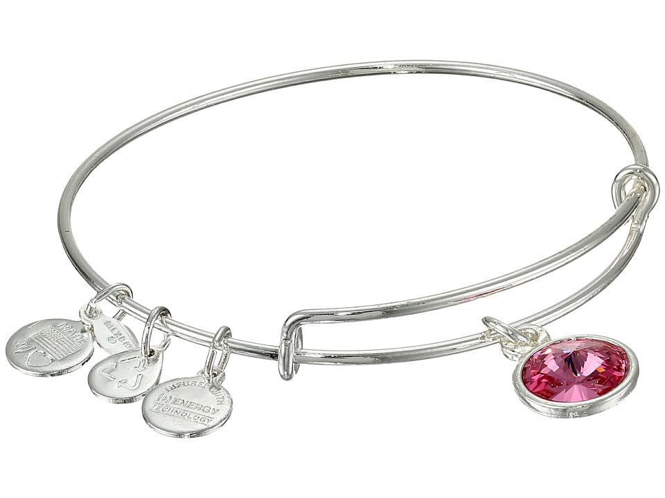 Alex and Ani - October Birthstone Charm Bangle (Rafaelian Silver Finish) Bracelet