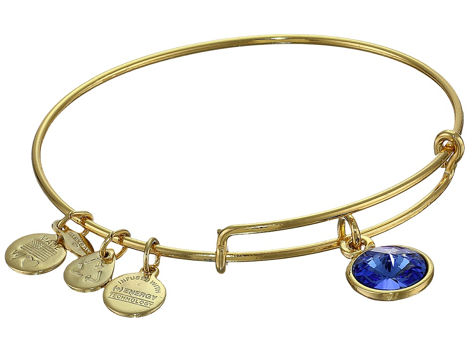 Alex And Ani September Birthstone Charm Bangle (Gold Fini...