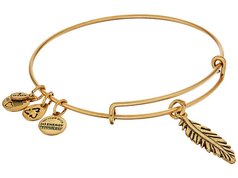 Alex and Ani Feather Charm Bangle - Rafaelian Gold Finish