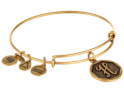 Alex and Ani Initial H Charm Bangle - Rafaelian Gold Finish