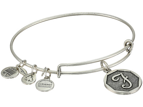 Alex and Ani Initial F Charm Bangle - Rafaelian Silver Finish