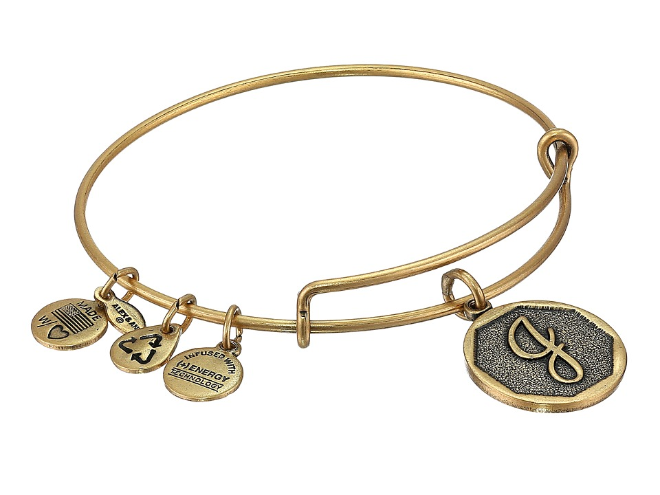 Alex and Ani - Initial J Charm Bangle (Rafaelian Gold Finish) Bracelet
