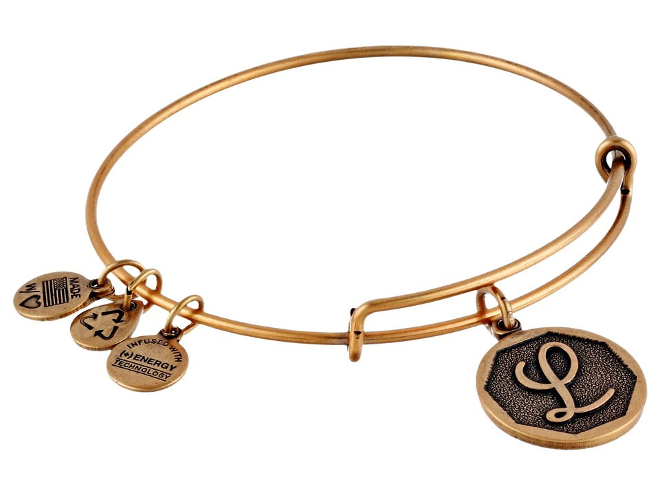 Alex and Ani - Initial L Charm Bangle (Rafaelian Gold Finish) Bracelet