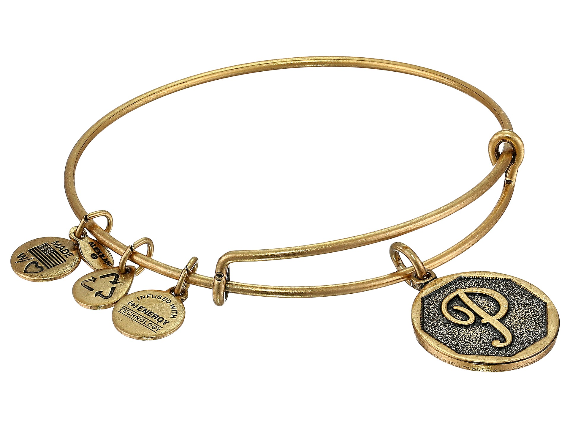 Alex and Ani Initial P Charm Bangle at Zappos