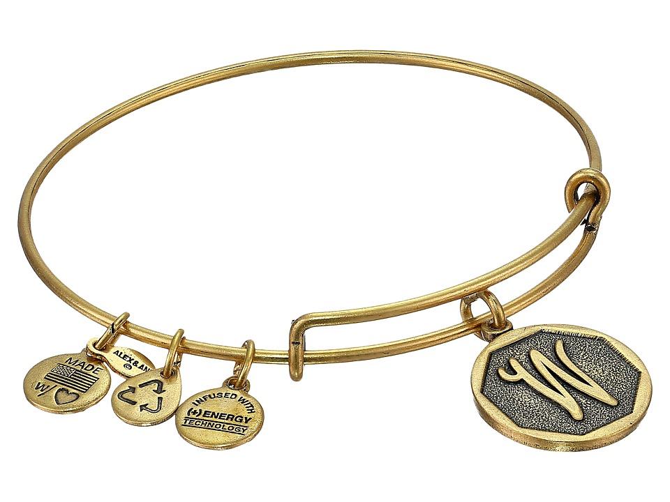 Alex and Ani - Initial W Charm Bangle (Rafaelian Gold Finish) Bracelet