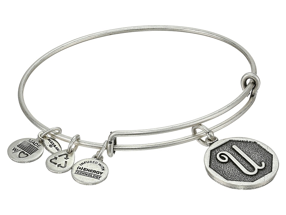 Alex and Ani - Initial U Charm Bangle (Rafaelian Silver Finish) Bracelet