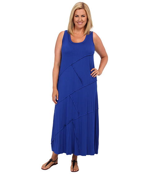 Karen Kane Plus Plus Size Reverse Seam Carolyn Maxi Dress (Ocean) Women's Dress