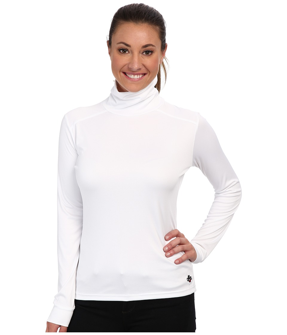 Hot Chillys Peach Roll T Neck White Womens Long Sleeve Pullover