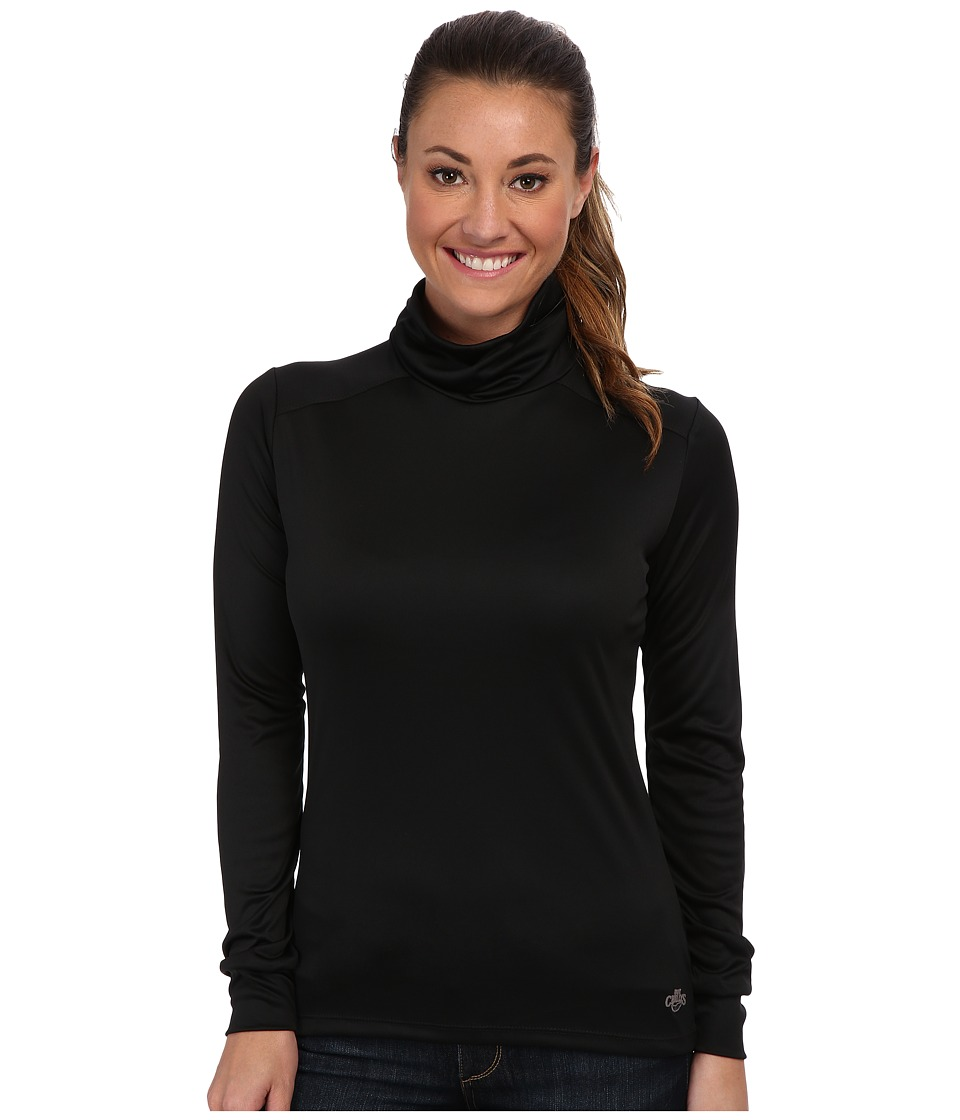 Hot Chillys Peach Roll T Neck Black Womens Long Sleeve Pullover