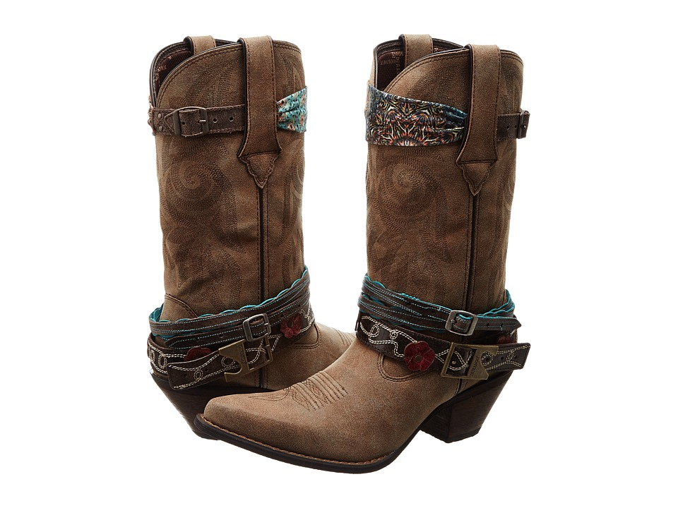 Durango Crush 12 Accessorize w/ Removable Straps Brown Cowboy Boots