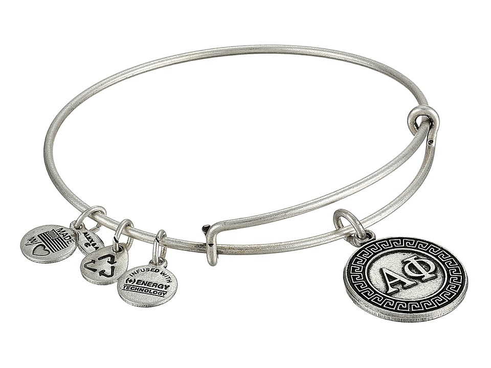 Alex and Ani Alpha Phi Charm Bangle Rafaelian Silver Finish Bracelet