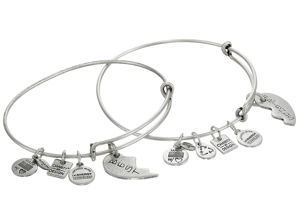 Alex and Ani - Best Friends Set of 2 Charm Bangle (Rafaelian Silver Finish) Bracelet