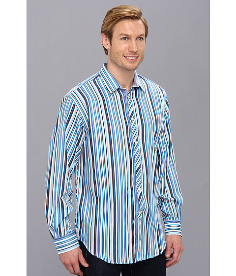Thomas dean co blue satin stripe point collar button for Button up collared sport shirts