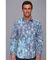 Thomas Dean & Co. - Blue Print Tailored Fit L/S Sport Shirt