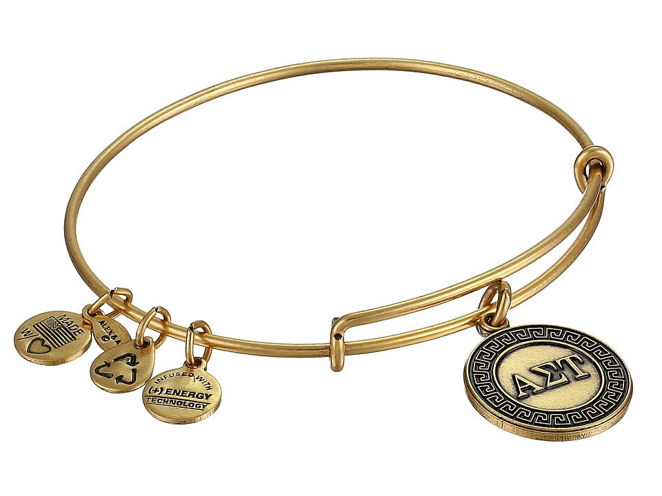 Alex and Ani Alpha Sigma Tau Charm Bangle Rafaelian Gold Finish Bracelet