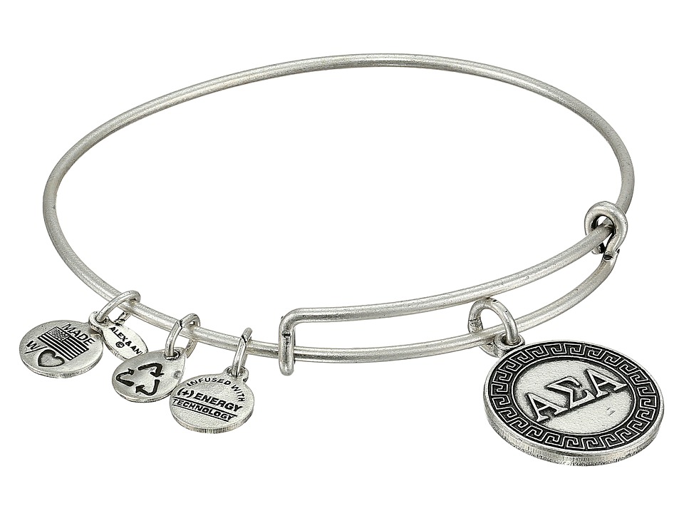 Alex and Ani Alpha Sigma Alpha Charm Bangle Rafaelian Silver Finish Bracelet