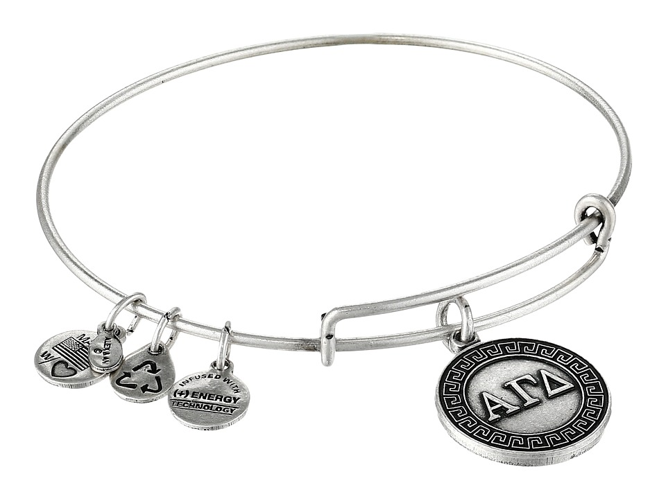 Alex and Ani Alpha Gamma Delta Charm Bangle Rafaelian Silver Finish Bracelet
