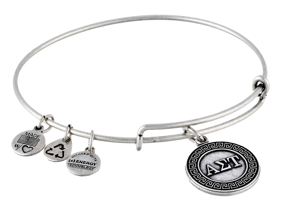 Alex and Ani Alpha Sigma Tau Charm Bangle Rafaelian Silver Finish Bracelet