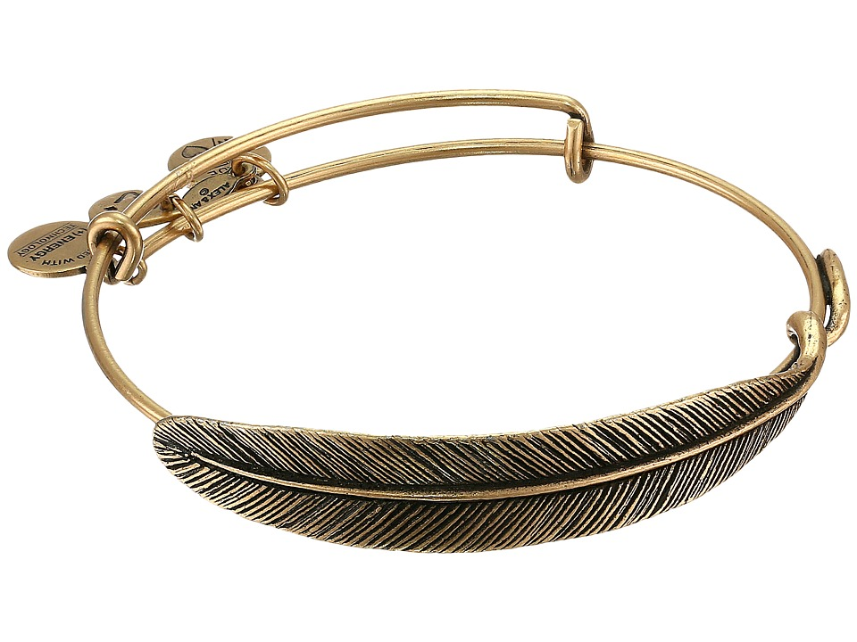 Alex and Ani - Quill Feather Bangle (Rafaelian Gold Finish) Bracelet