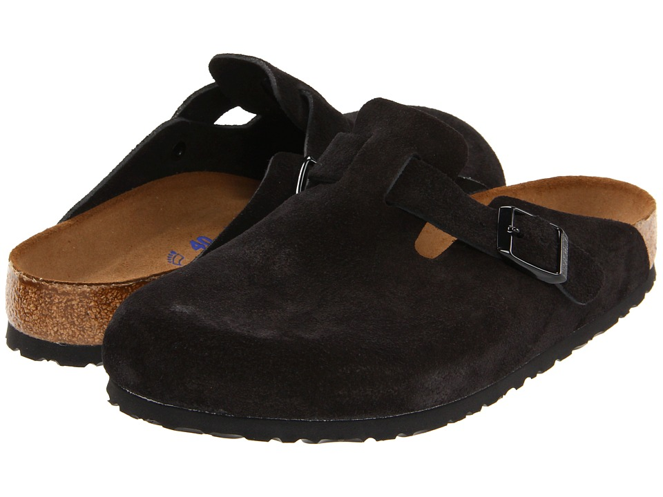Birkenstock - Boston Soft Footbed (Unisex) (Black Suede) Clog Shoes