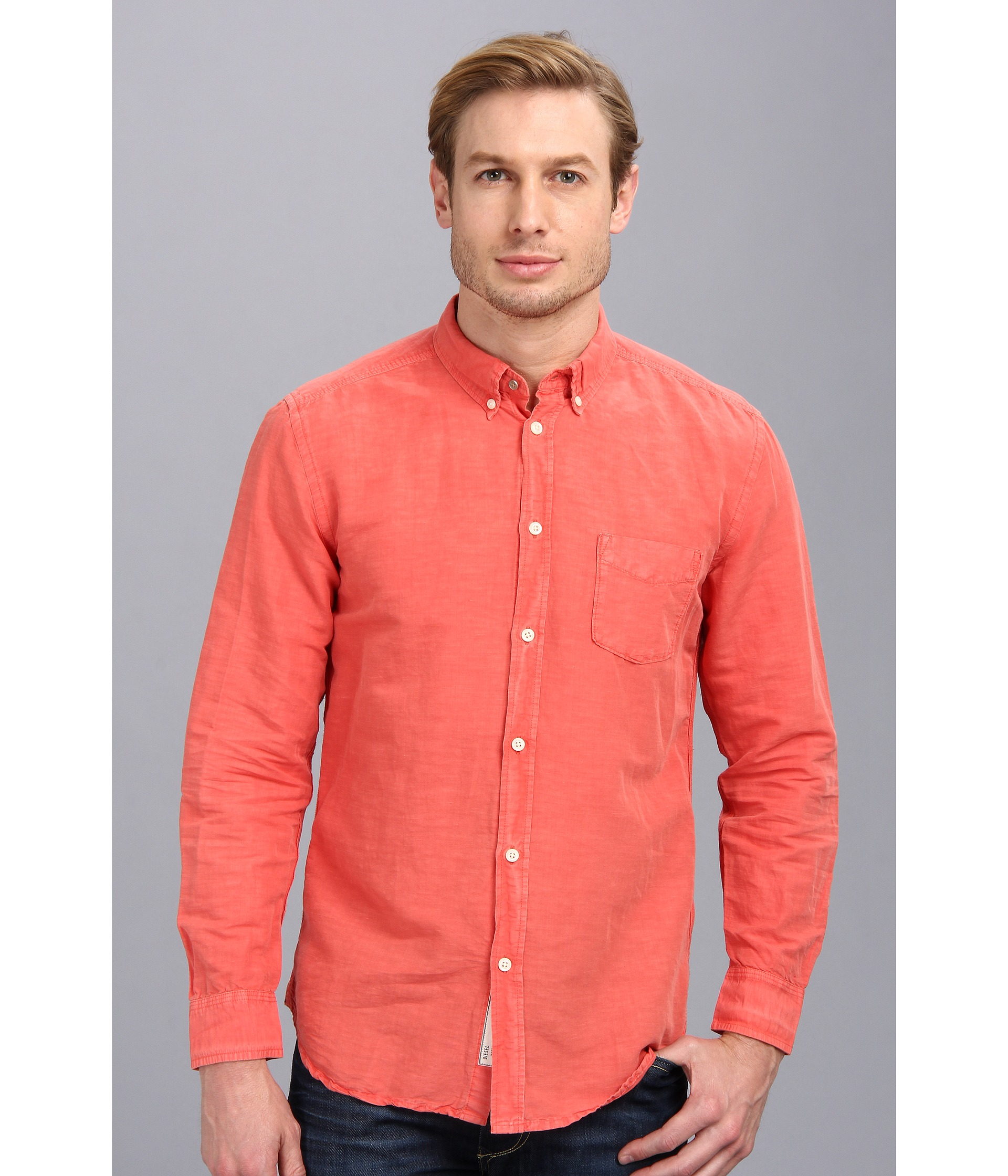 Mens Coral Button Up Shirt | Is Shirt