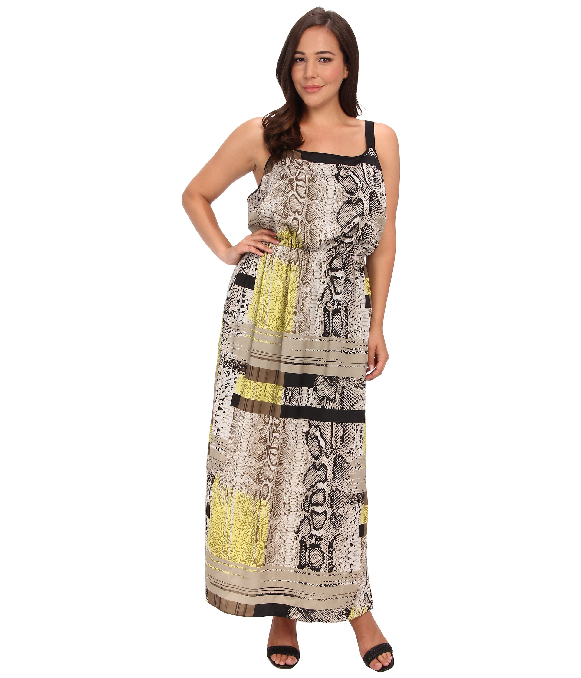 Plus size cap sleeve maxi dress