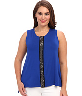 Vince Camuto Plus - Plus Size S/L Embellished Front Seam Tank