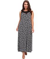 Vince Camuto Plus - Plus Size S/L V-Neck w/ Chiffon Doodle Maxi Dress