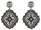 Gypsy SOULE - Diamond Framed Concho Drop Earrings (Silver)