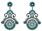 Gypsy SOULE - Flower Statement Drop Earrings (Turquoise/Grey)