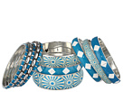 Gypsy SOULE - Blue and White Tribal 9 Bangle Set (Blue/White)