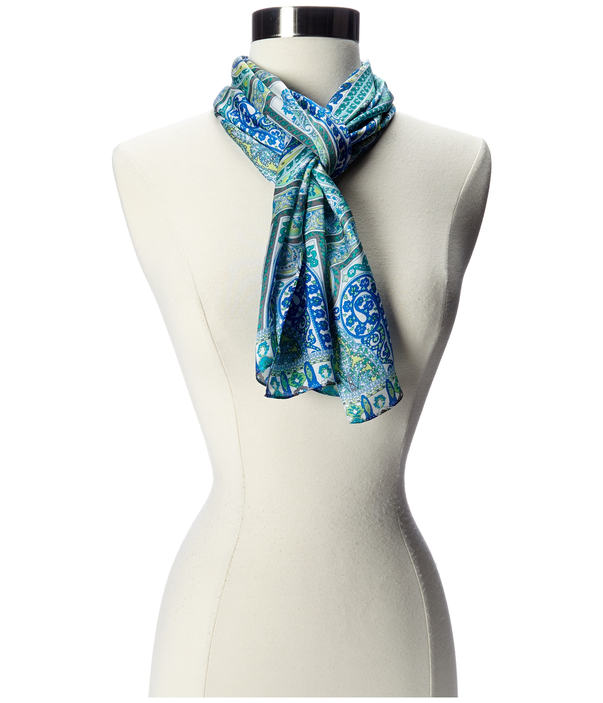 echo design swirled paisley scarf bright turquoise