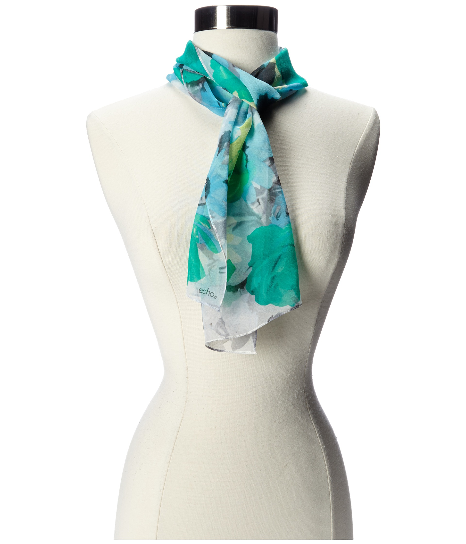 echo design cheerful floral scarf bright turquoise