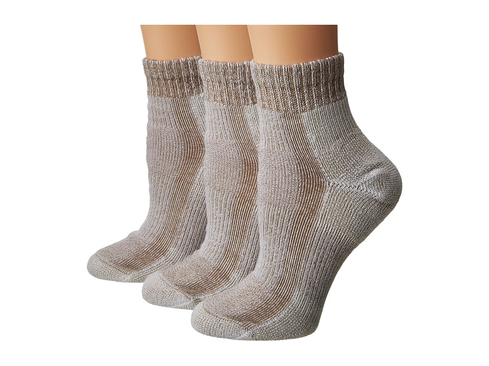 Thorlos - Light Hiking Mini Crew 3-PK (Khaki Heather) Womens Crew Cut Socks Shoes