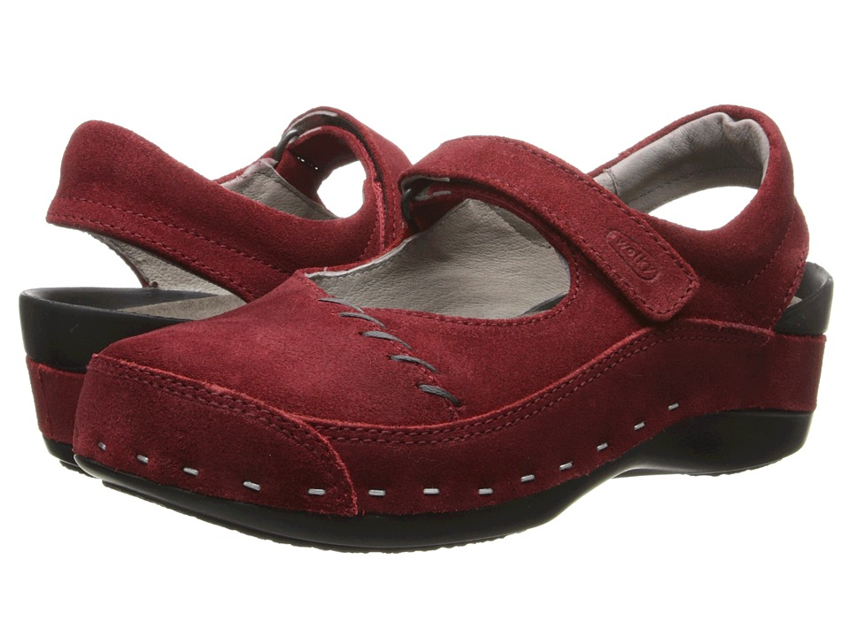 Wolky Strap Cloggy Oxblood Suede Womens Clog Shoes