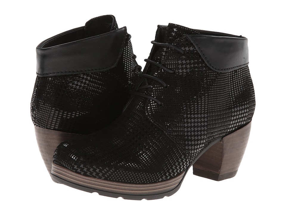 Wolky Jacquerie Black Dessin Suede Womens Lace up Boots