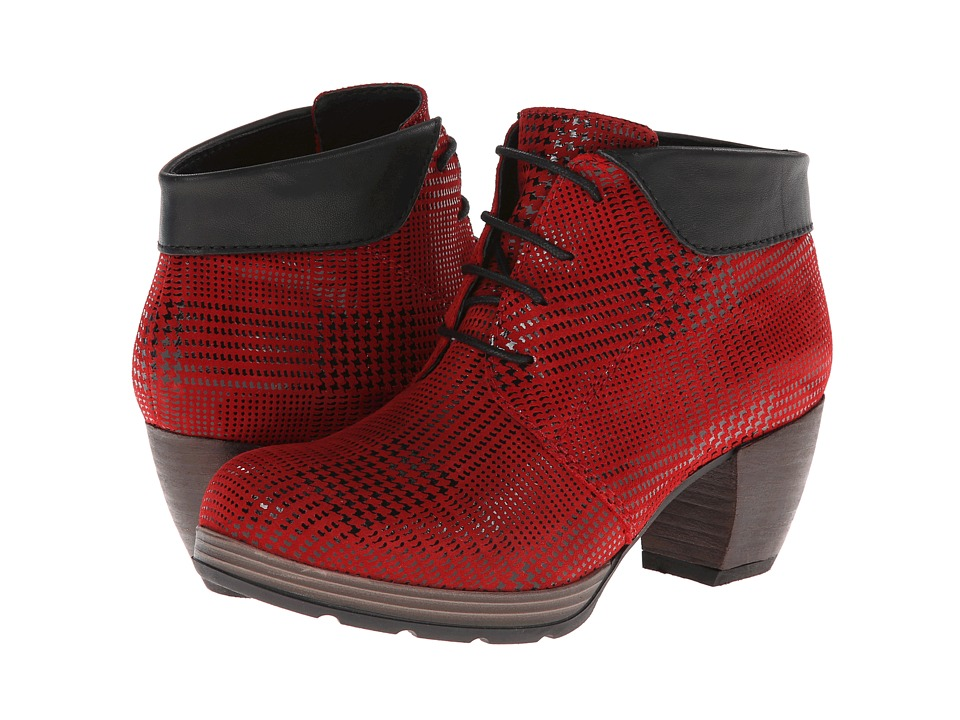 Wolky Jacquerie Red Dessin Suede Womens Lace up Boots