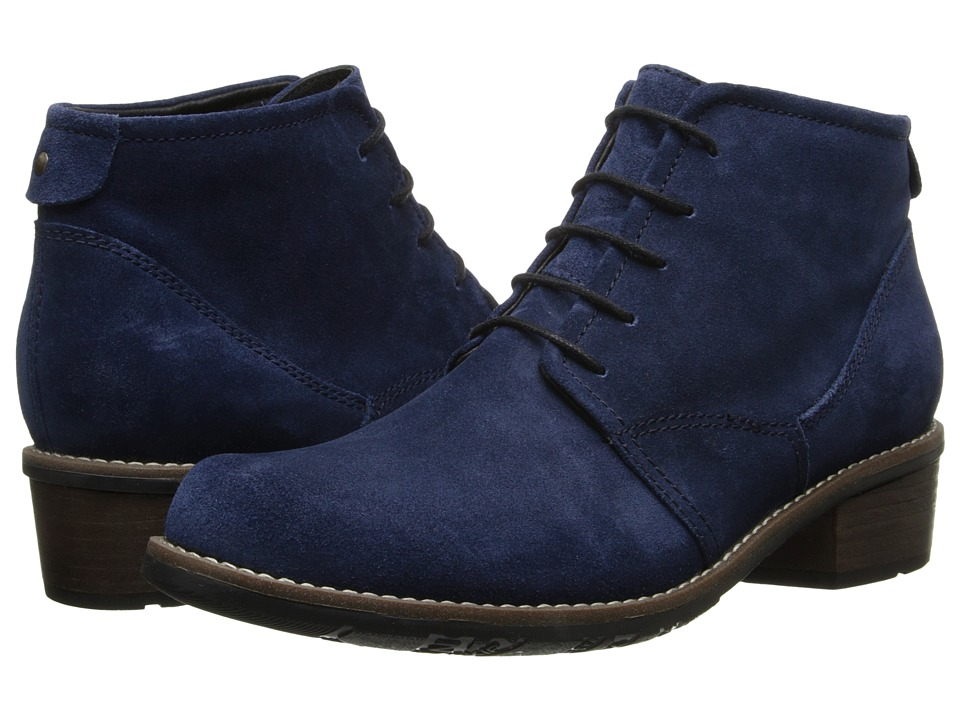 Wolky Erne Blue Greased Suede Womens Lace up Boots